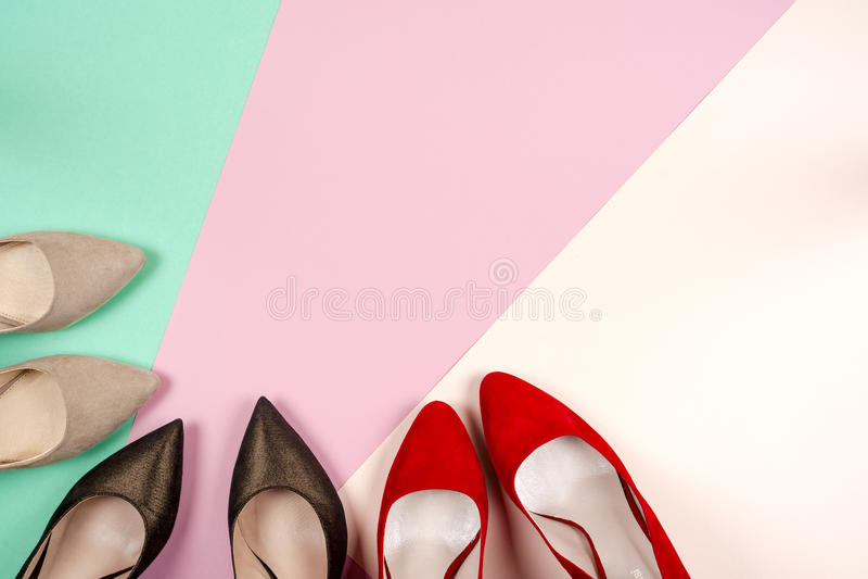 时尚,在高跟鞋的女性不同的鞋子 库存图片