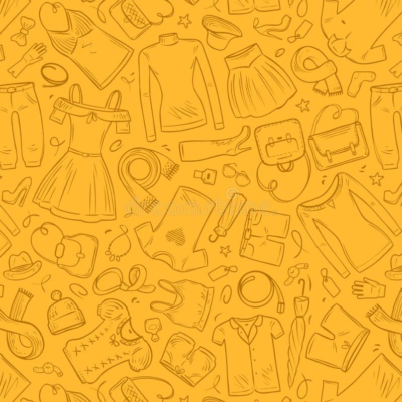 时尚,购物,精品店无缝的背景 衣裳和鞋子概念 也corel凹道例证向量 库存例证