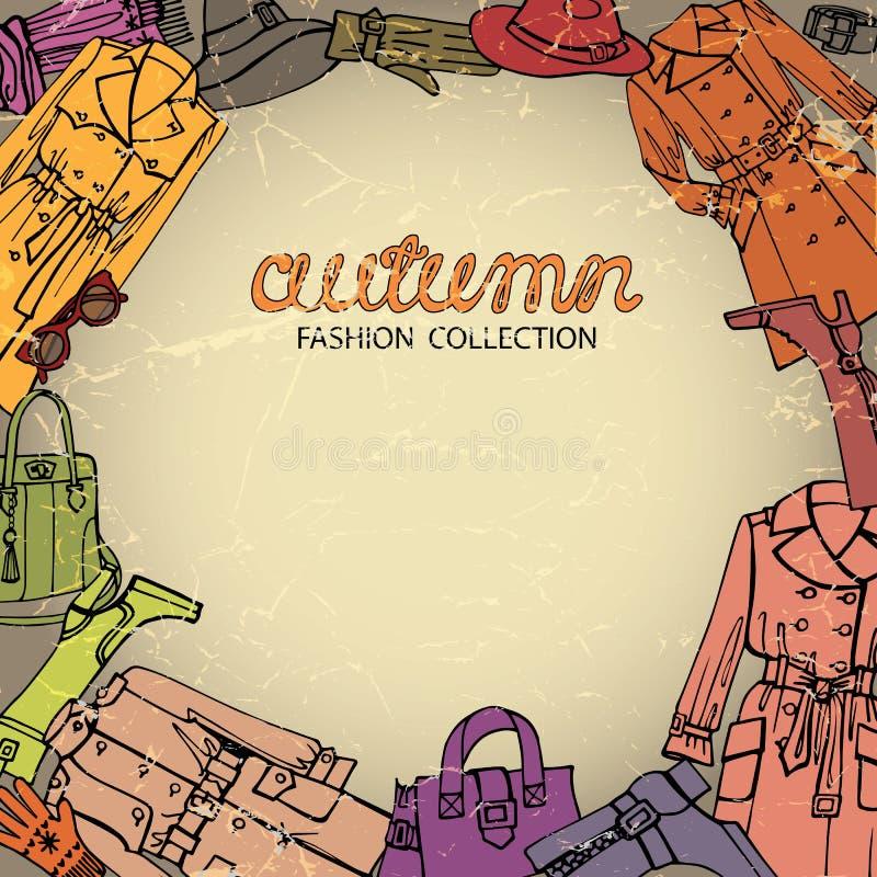 时尚给背景穿衣 秋天女服 向量例证