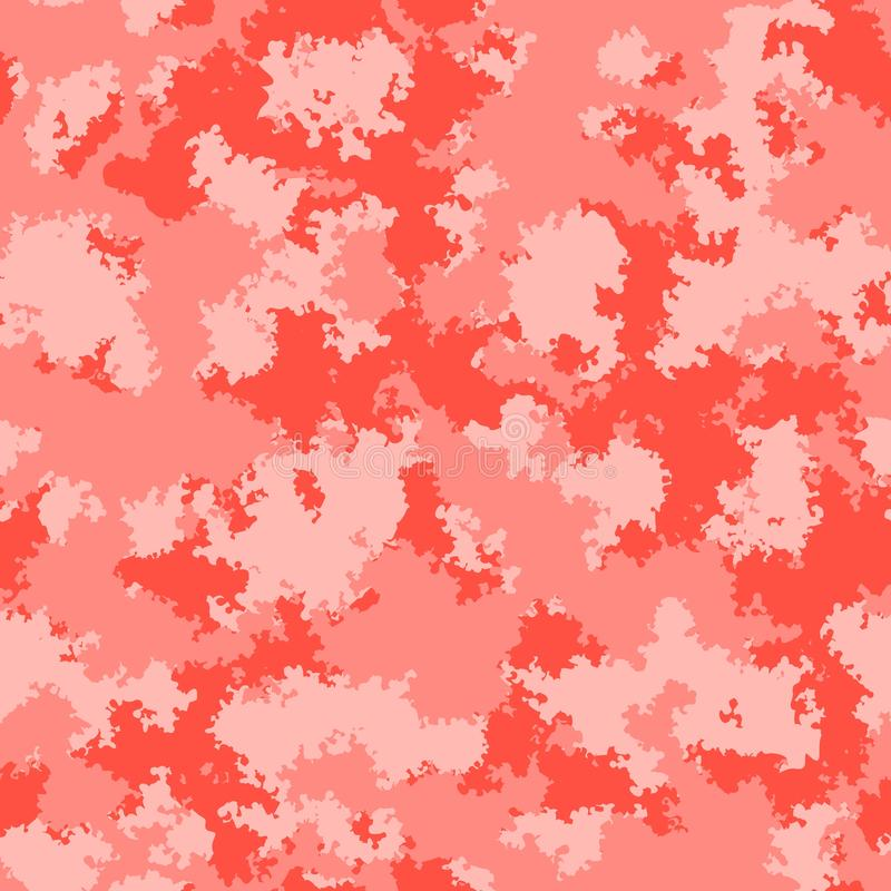 时尚camo表面设计 居住的珊瑚大理石时髦伪装三文鱼红色桃红色织品样式 库存例证