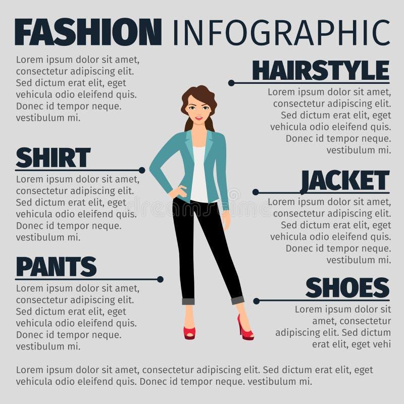 时尚infographic与年轻企业女孩 向量例证
