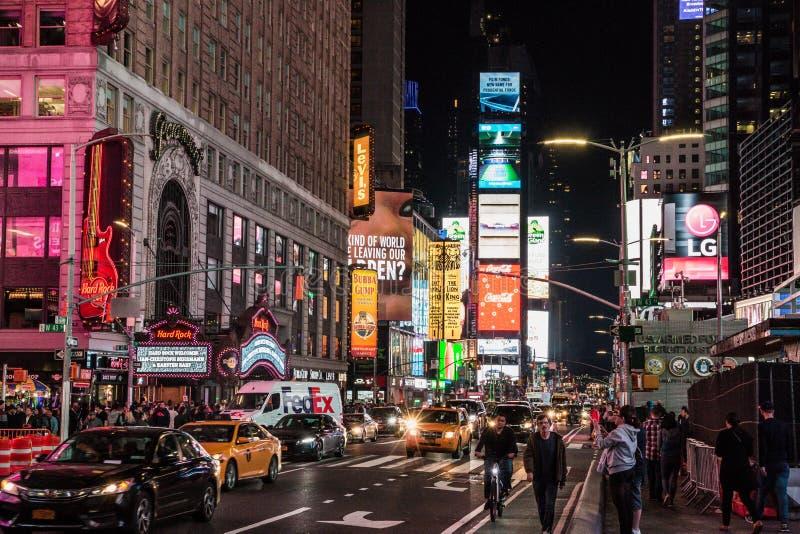 时报广场夜景在曼哈顿 免版税图库摄影
