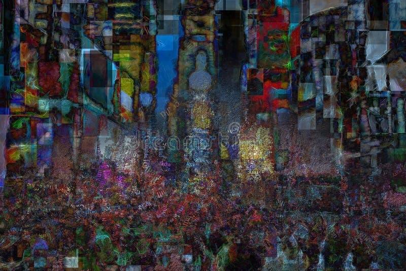 时报广场,超现实的构成 皇族释放例证