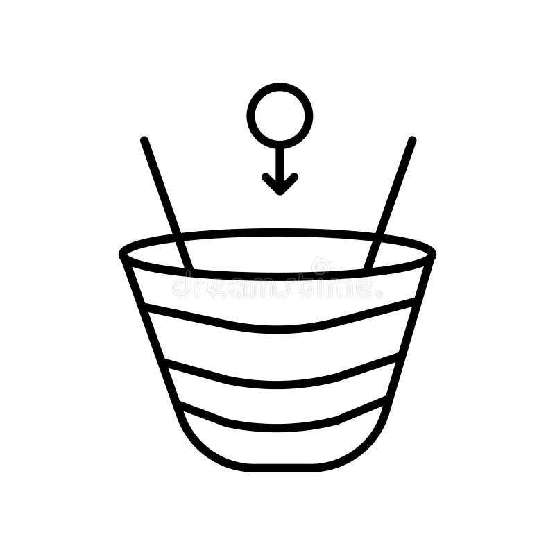 时空曲度在白色背景,时空曲度标志、标志和标志隔绝的象传染媒介在稀薄的线性概述 向量例证