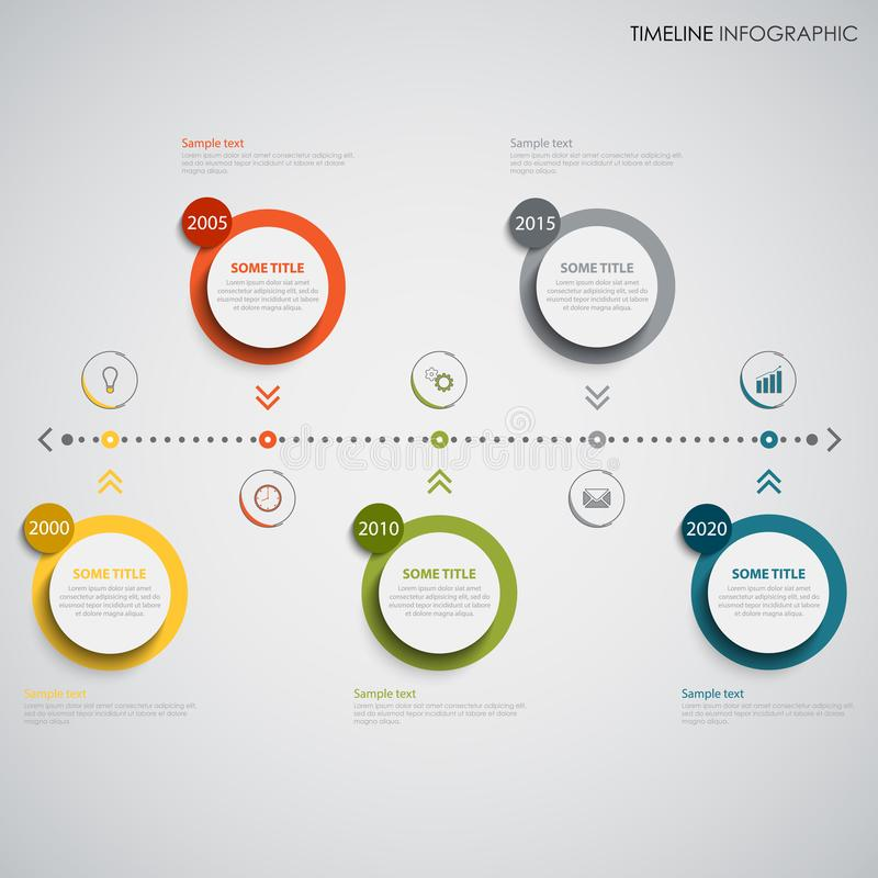 时线与上色的信息图表围绕设计元素显示 向量例证