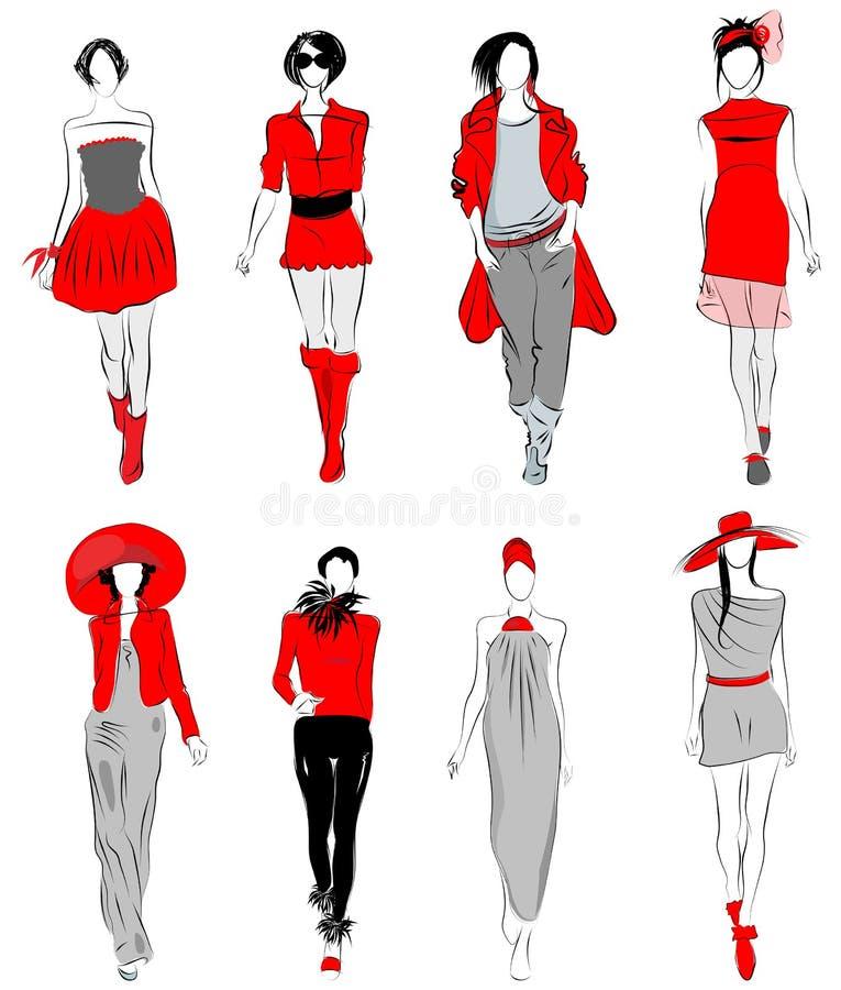 时装模特儿传统化了 向量例证