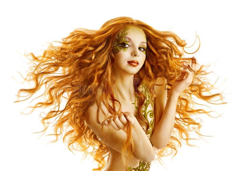 时装模特儿发型,妇女长的挥动的发型,被隔绝的白色 库存照片