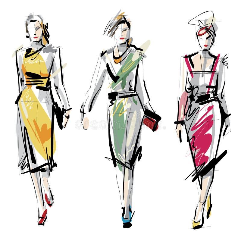 时装模特儿妇女 草图 皇族释放例证