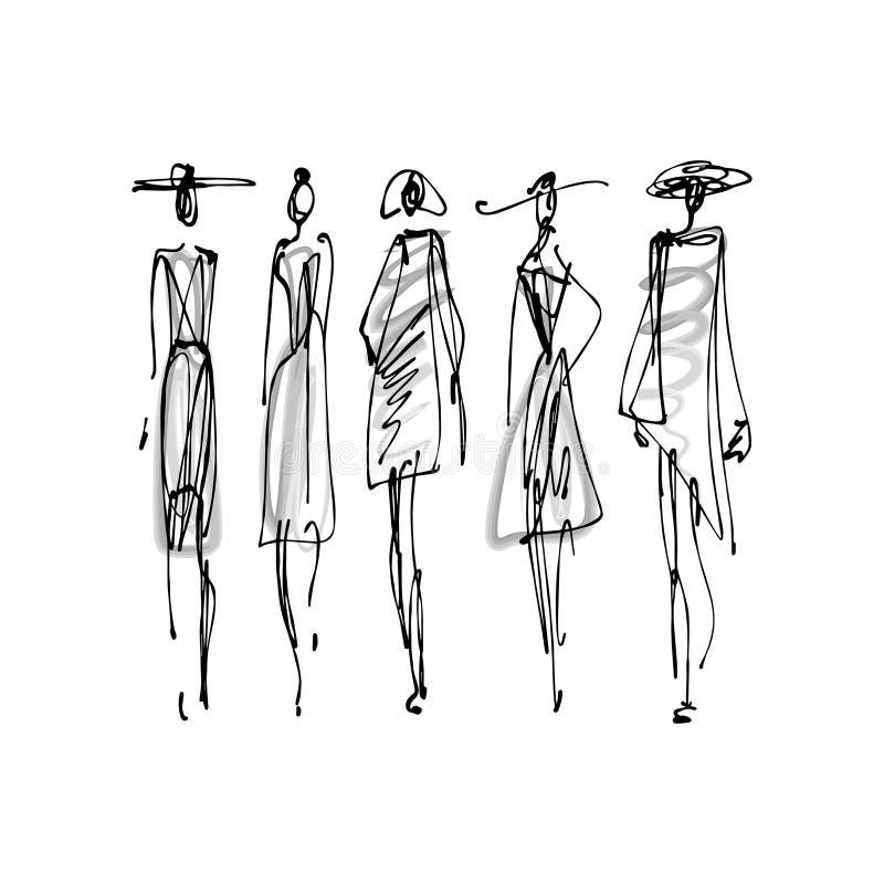 时装模特儿手拉的剪影,在白色背景隔绝的风格化墨水剪影 向量例证