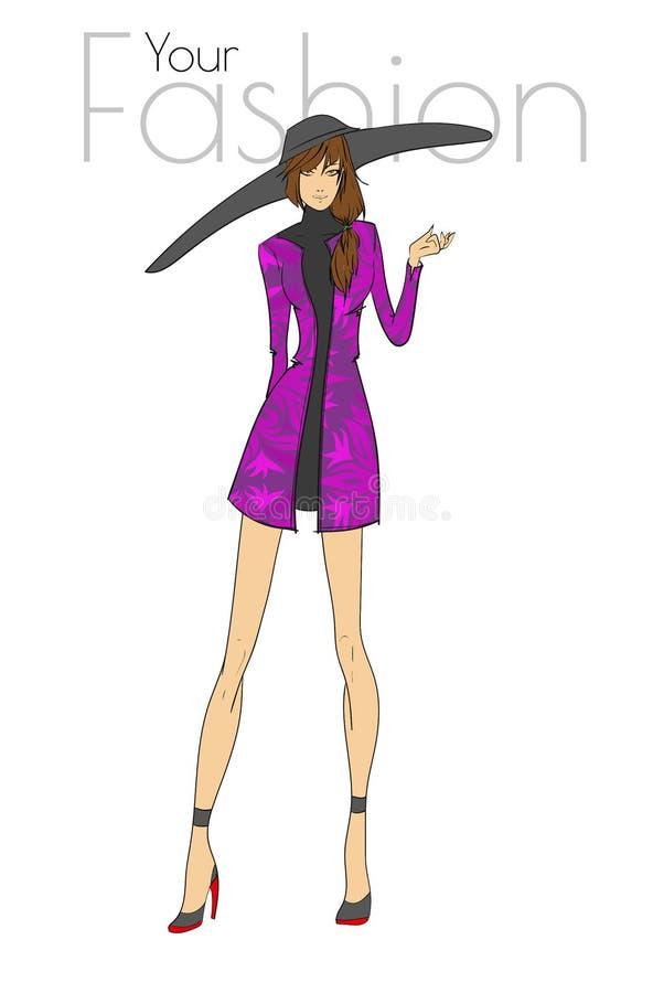 时装模特儿摆在 美丽的妇女年轻人 库存例证