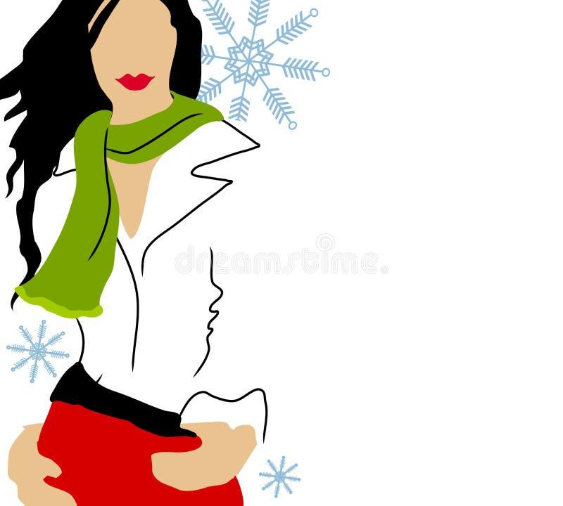 时装模特儿白色冬天 向量例证