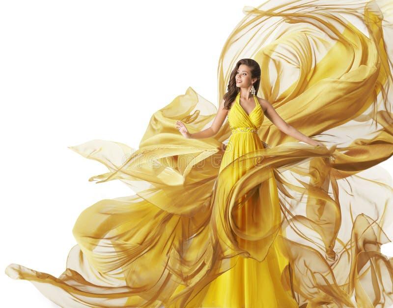 时装模特儿礼服,妇女流动的织品褂子,给白色穿衣 免版税图库摄影
