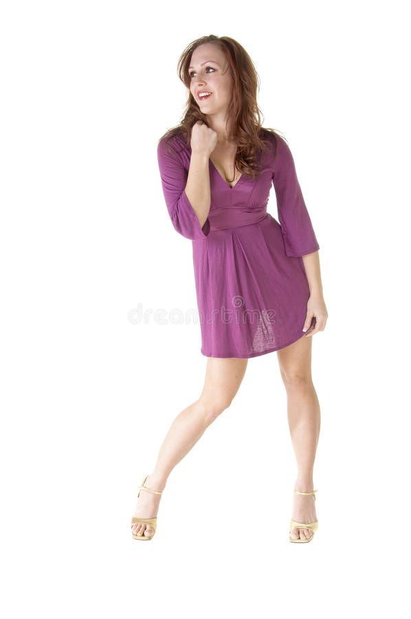 时装模特儿紫色 库存照片