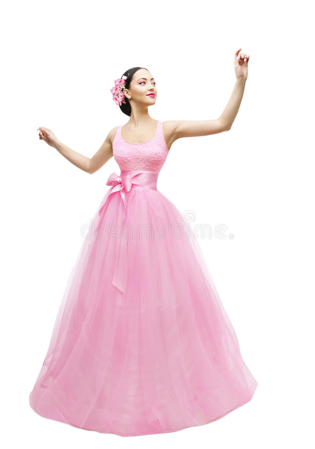 时装模特儿舞会礼服,长的桃红色褂子的妇女,亚裔女孩 库存照片