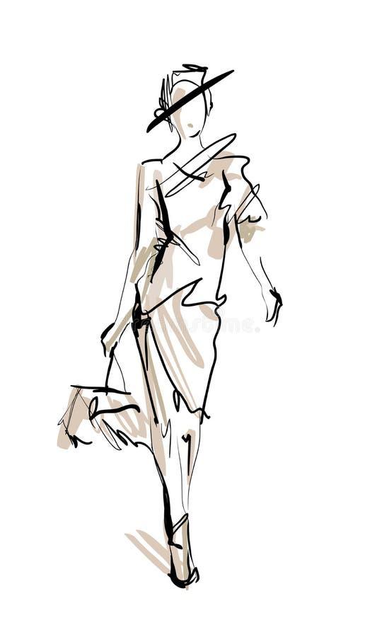 时装模特儿草图 皇族释放例证