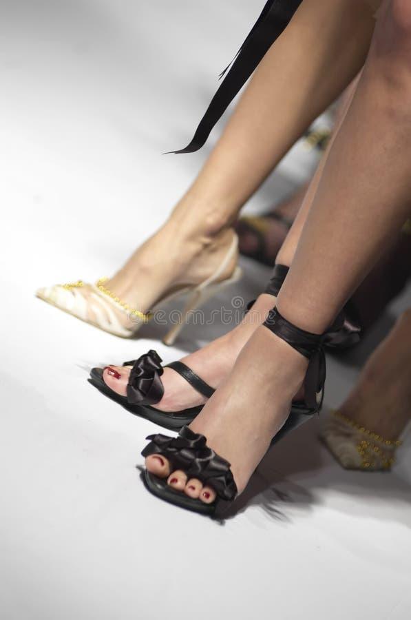 时装模特性感的鞋子 免版税库存照片