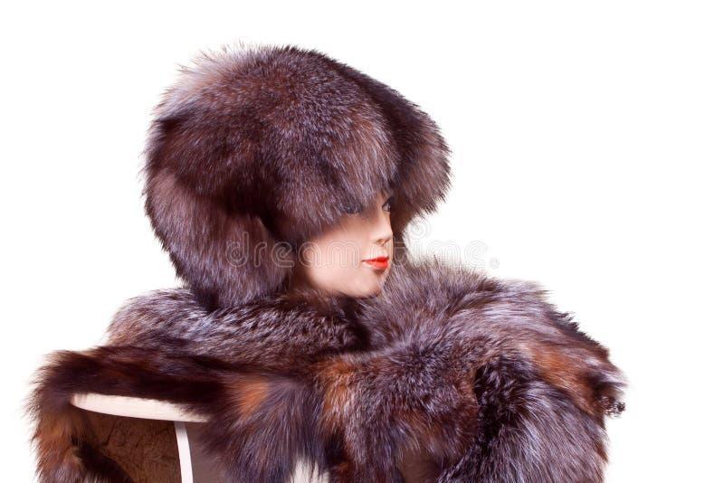 时装模特顶头佩带的裘皮帽和衣领 免版税库存照片