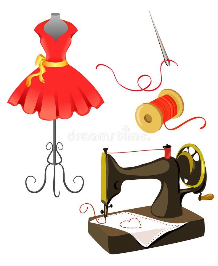 时装模特,礼服,被隔绝的缝纫机 皇族释放例证