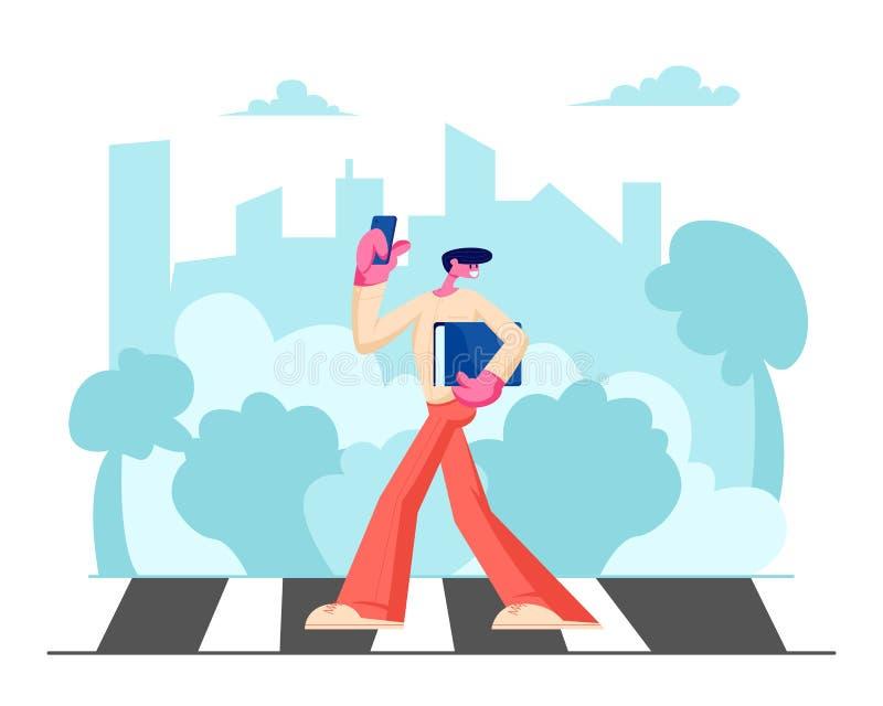 时装的年轻帅哥有智能手机和文件文件夹的在手上走沿行人穿越道的在大繁忙的城市 库存例证