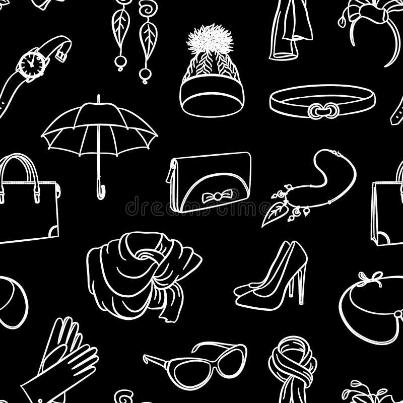 时装配件无缝的样式 递在黑背景的画的空白线路 帽子,袋子,钱包,伞,太阳镜, neckl 库存例证