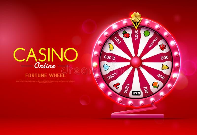 时运轮子转动的赌博娱乐场在网上bokeh背景的 向量例证