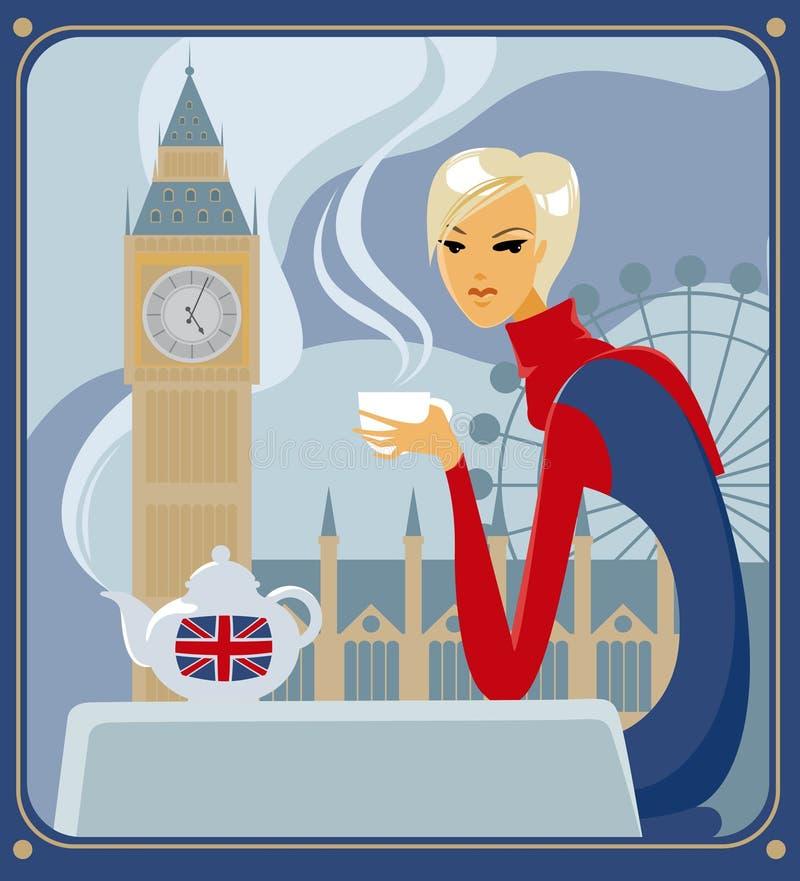 时钟五伦敦o茶 皇族释放例证