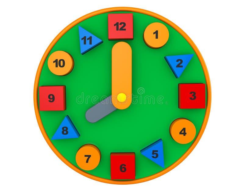 时钟五颜六色的玩具 3d翻译 图库摄影