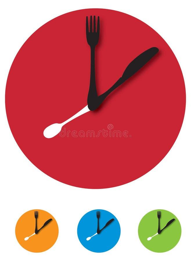 时钟刀叉餐具 皇族释放例证