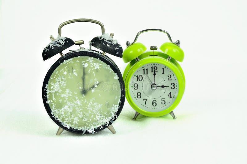 时钟变动冬时 库存图片