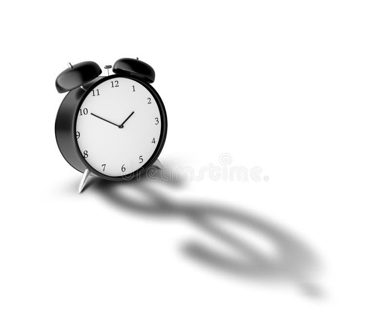 时钟和影子美元 库存例证