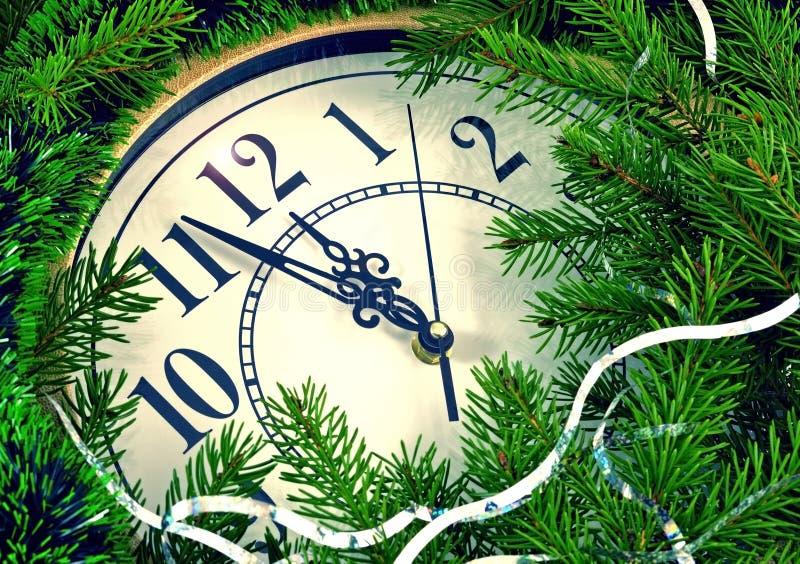 时钟和新年装饰 免版税库存图片