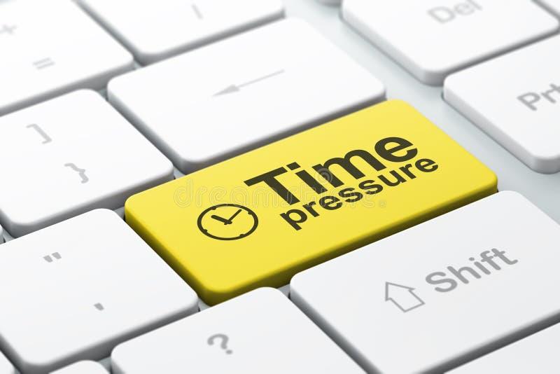 时钟和时间压力在键盘backg 库存例证