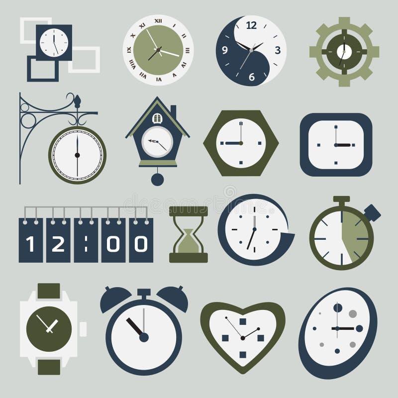 时钟和时间图标 向量例证