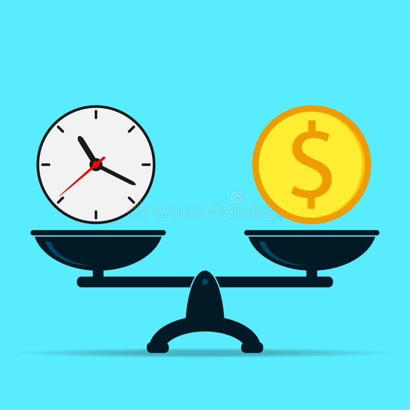 时钟和美元在等级,平衡 时间是货币概念 传染媒介平的设计  皇族释放例证