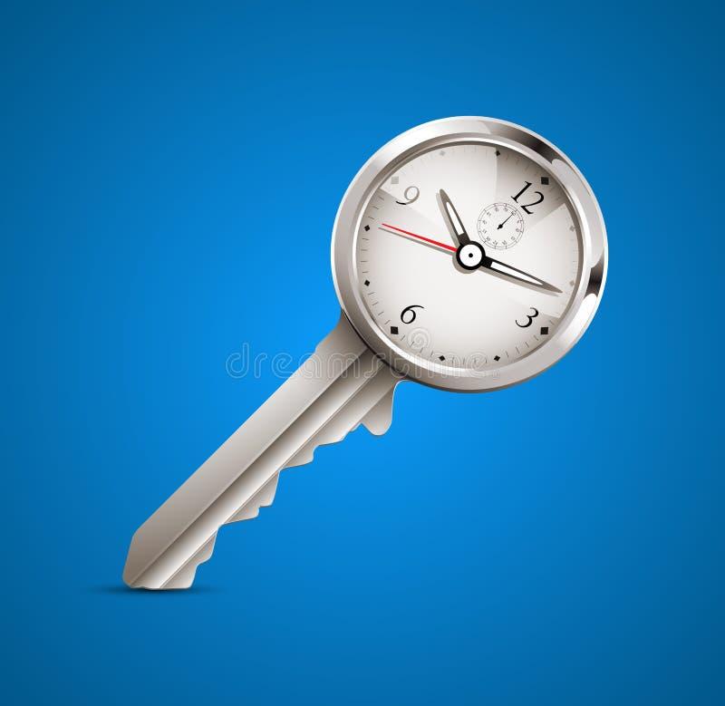 时钟和钥匙当时间安排 库存例证