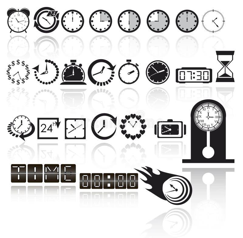 时钟图标集 皇族释放例证