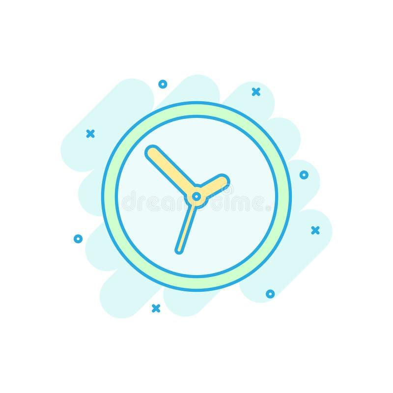 时钟在可笑的样式的标志象 时间管理传染媒介在白色被隔绝的背景的动画片例证 定时器企业概念 向量例证