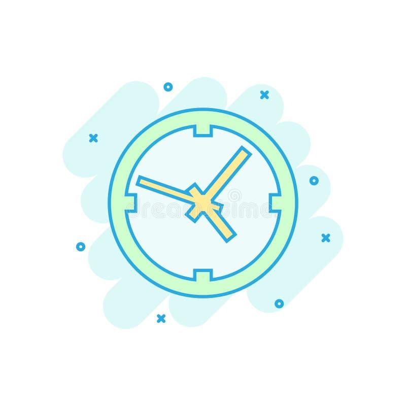 时钟在可笑的样式的标志象 时间管理传染媒介在白色被隔绝的背景的动画片例证 定时器企业概念 皇族释放例证