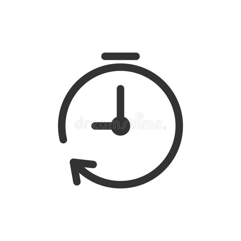 时钟在平的样式的定时器象 时间在白色的警报例证 向量例证