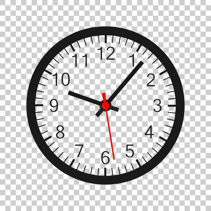 时钟在透明样式的标志象 时间管理在被隔绝的背景的传染媒介例证 定时器企业概念 库存例证