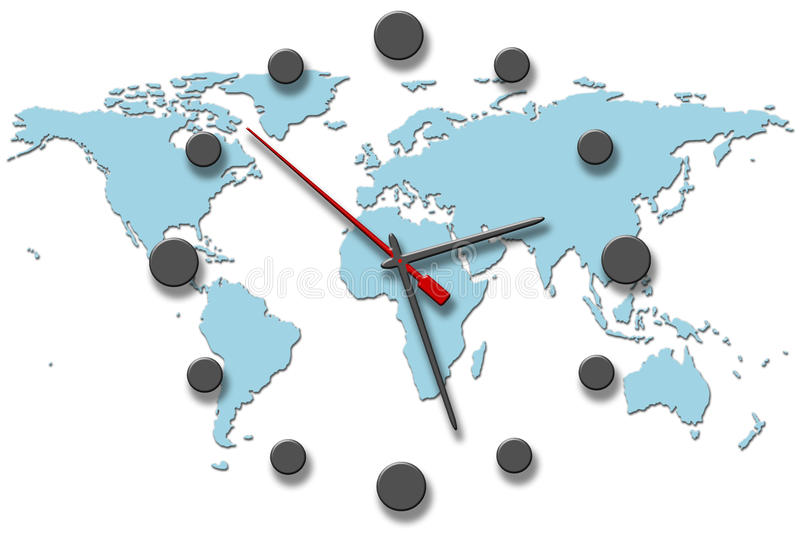 时钟地球递映射时间世界 皇族释放例证