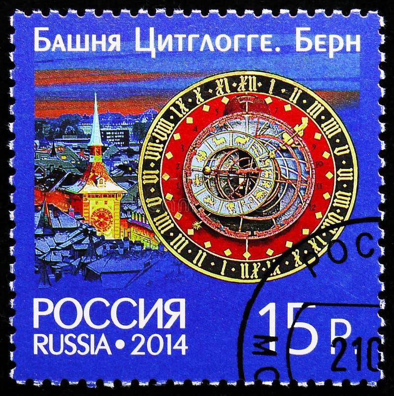 时钟塔尖沙嘴钟楼在伯尔尼,俄罗斯和瑞士,钟楼serie的联合问题,大约2014年 免版税库存图片