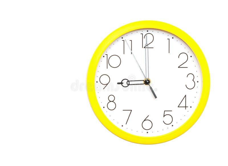 时钟墙壁黄色 免版税库存图片