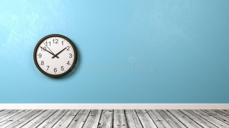 时钟对墙壁在木地板室 向量例证