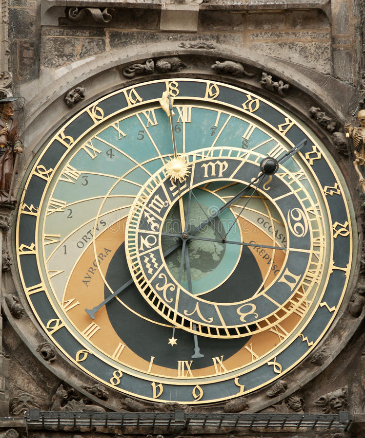 时钟居住的老布拉格表面 免版税库存图片