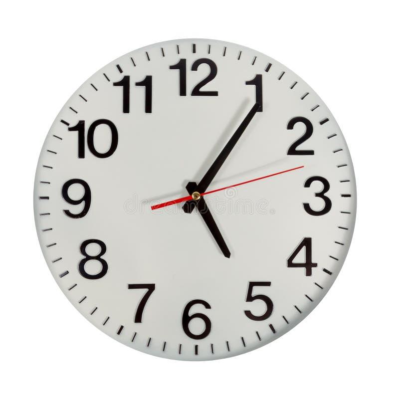 时钟或时间抽象背景 有红色和blac的白色时钟 图库摄影