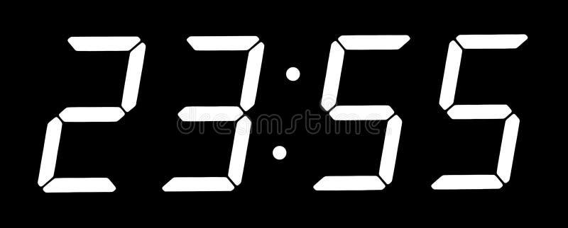 时钟数字式五分钟显示到十二 免版税库存图片