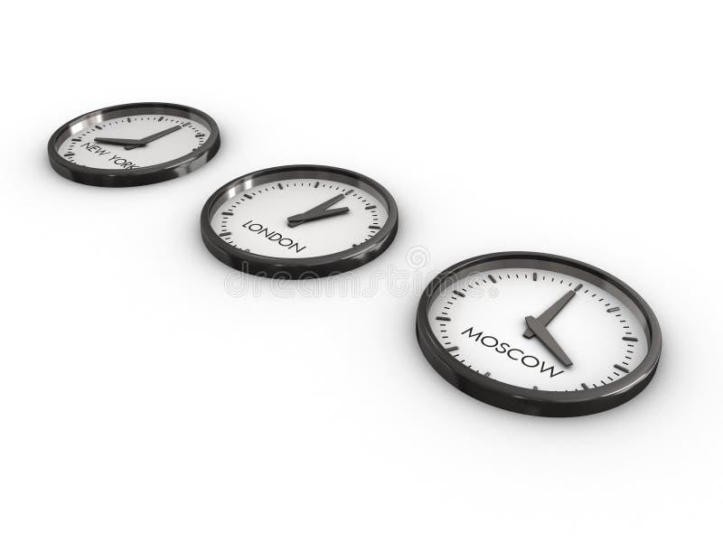 时钟时间区域 皇族释放例证