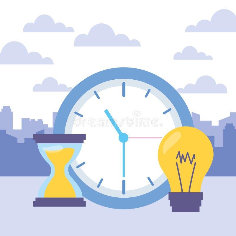 时钟时间滴漏电灯泡 向量例证