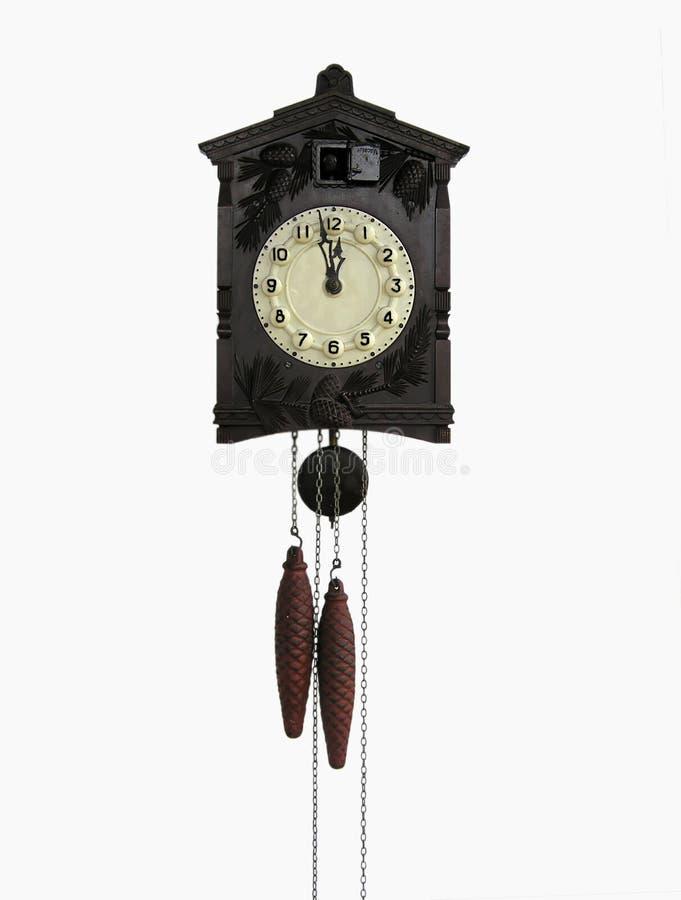 时钟杜鹃葡萄酒墙壁 免版税库存照片